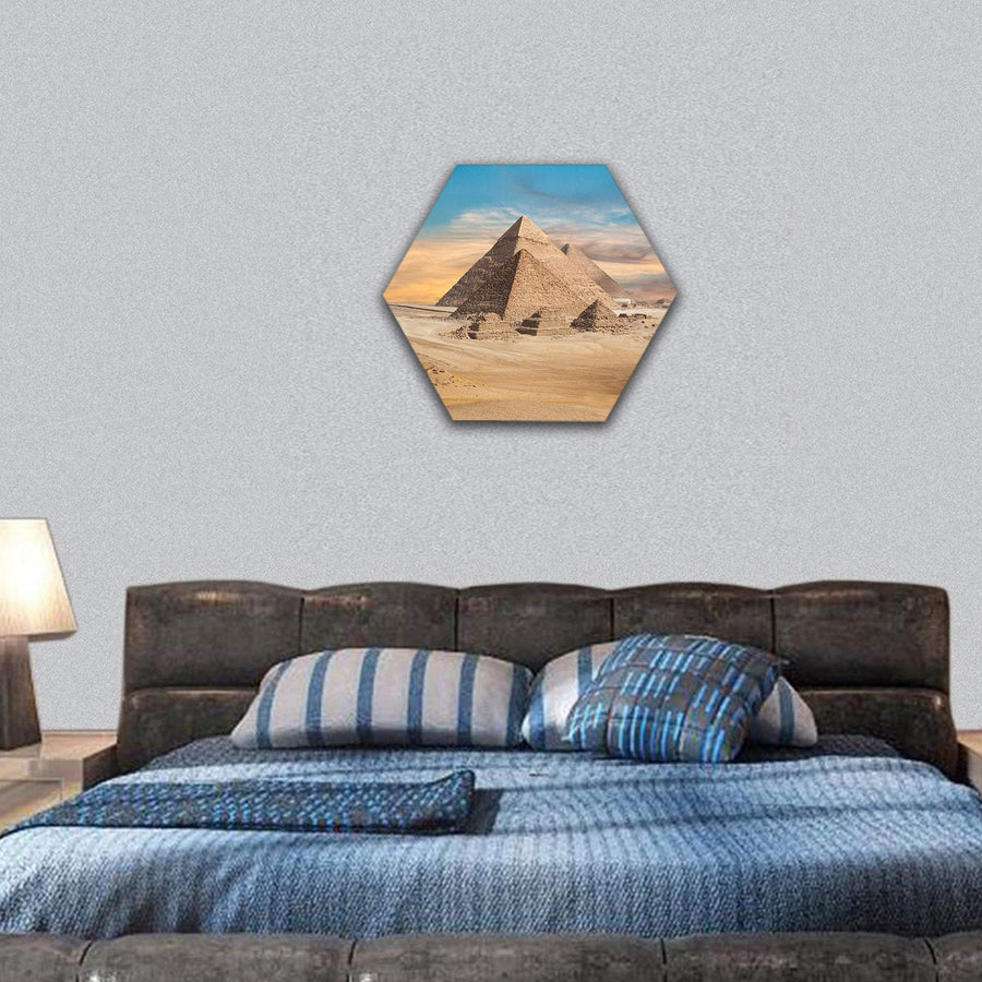 General View Of Pyramids In Egypt Hexagonal Canvas Wall Art 7 Hexa / Small / Gallery Wrap Tiaracle