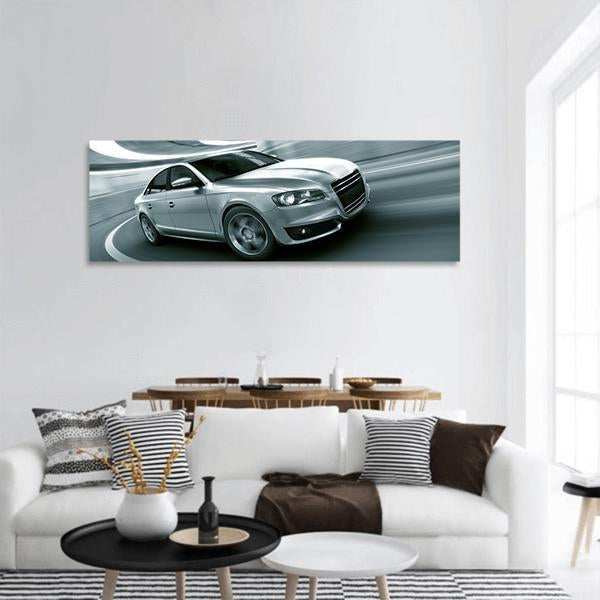 Generic Car In Blur Motion Panoramic Canvas Wall Art 3 Piece / Small Tiaracle