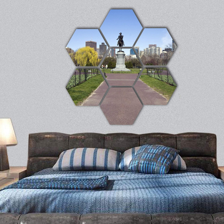 George Washington Statue Hexagonal Canvas Wall Art 1 Hexa / Small / Gallery Wrap Tiaracle