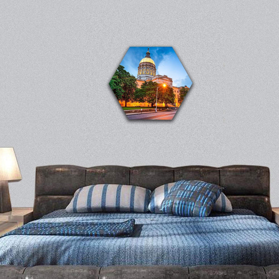 Georgia State Capitol Building In Atlanta Hexagonal Canvas Wall Art 7 Hexa / Small / Gallery Wrap Tiaracle