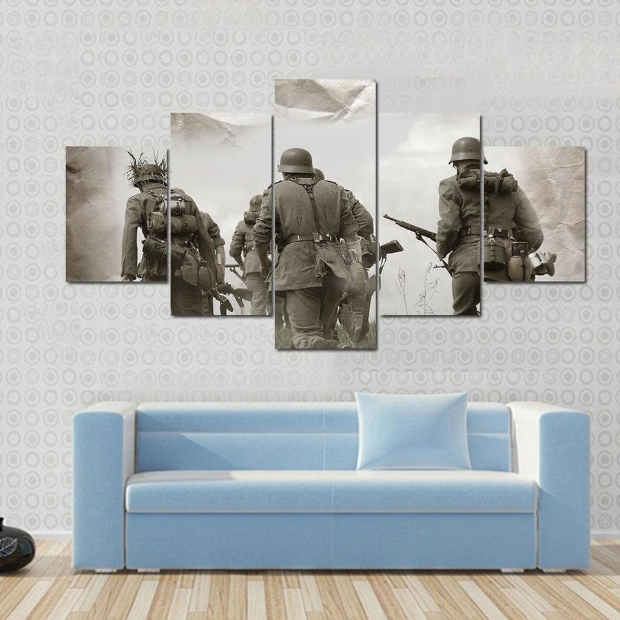 German Soldiers WW2 Reenacting Canvas Panel Painting Tiaracle