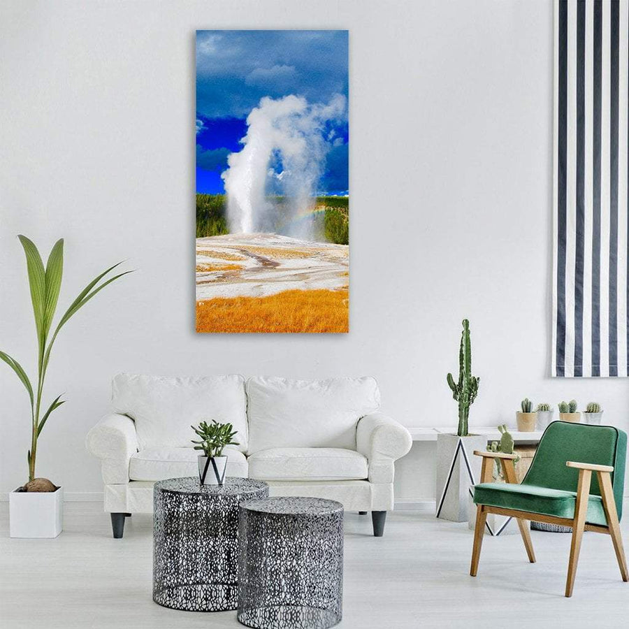 Geysir In Yellowstone Park Vertical Canvas Wall Art 3 Vertical / Small / Gallery Wrap Tiaracle