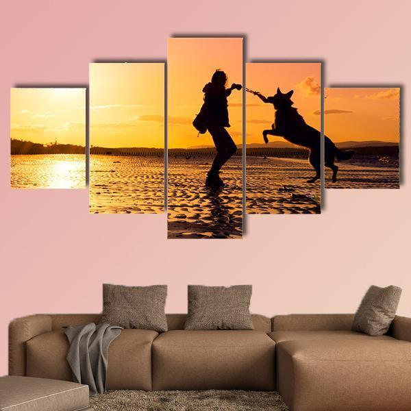 Girl Playing With Dog At Beach Multi Panel Canvas Wall Art-5 Pop-Medium-Gallery Wrap-Tiaracle