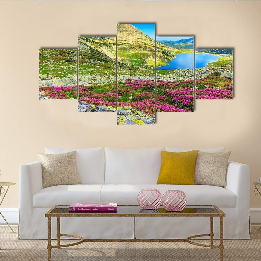 Glacier Lake With Mountains And Flowers Multi Panel Canvas Wall Art 3 Pieces / Medium / Canvas Tiaracle