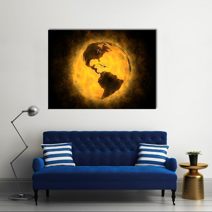 Global Warming Concept Multi Panel Canvas Wall Art 4 Square / Small / Gallery Wrap Tiaracle