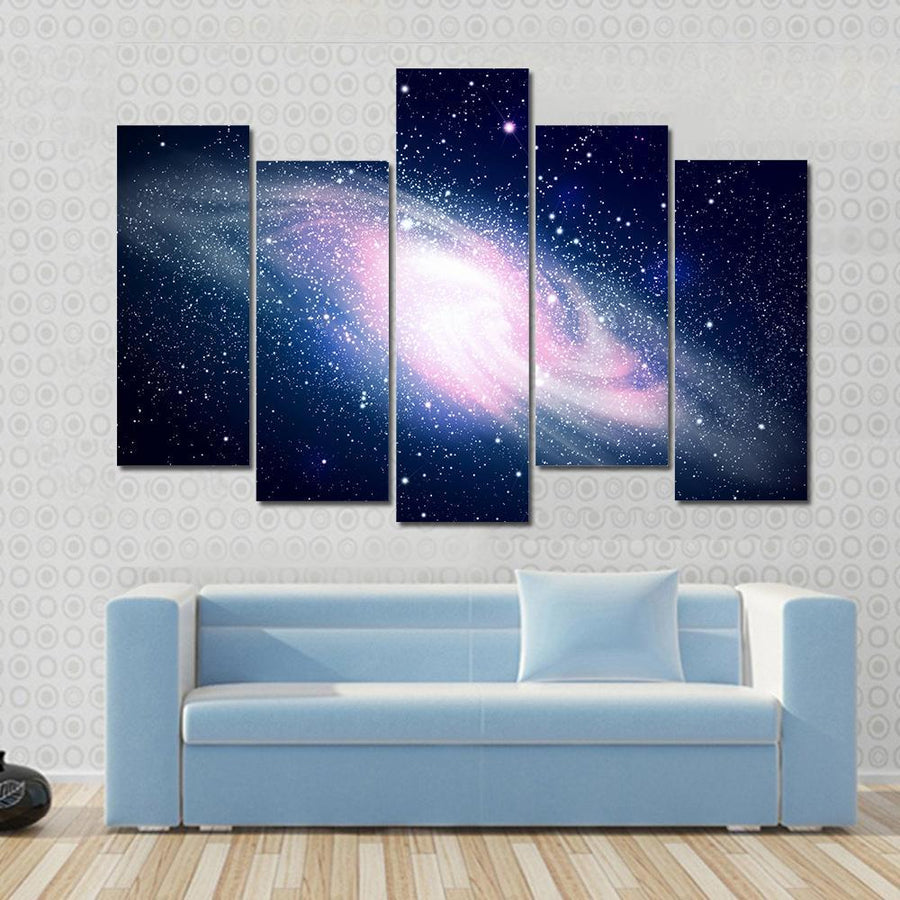 Glowing Galaxy Against Black Space And Stars Canvas Panel Painting Tiaracle