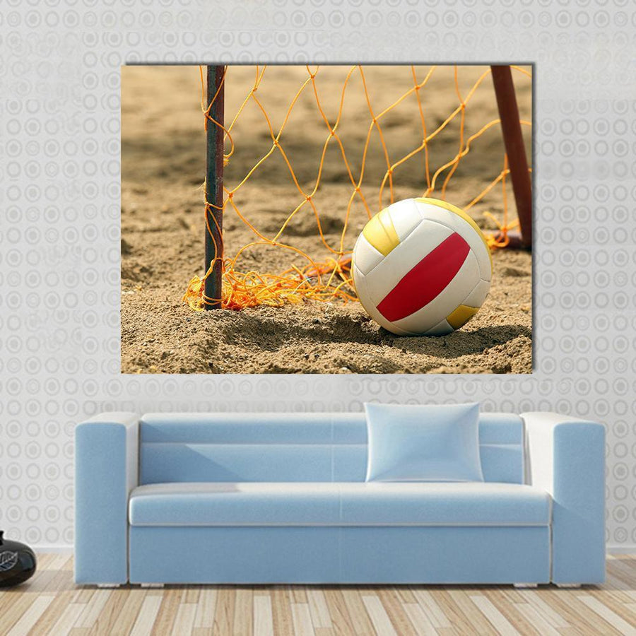 Goal On The Beach With A Volleyball Multi Panel Canvas Wall Art 5 Horizontal / Small / Gallery Wrap Tiaracle