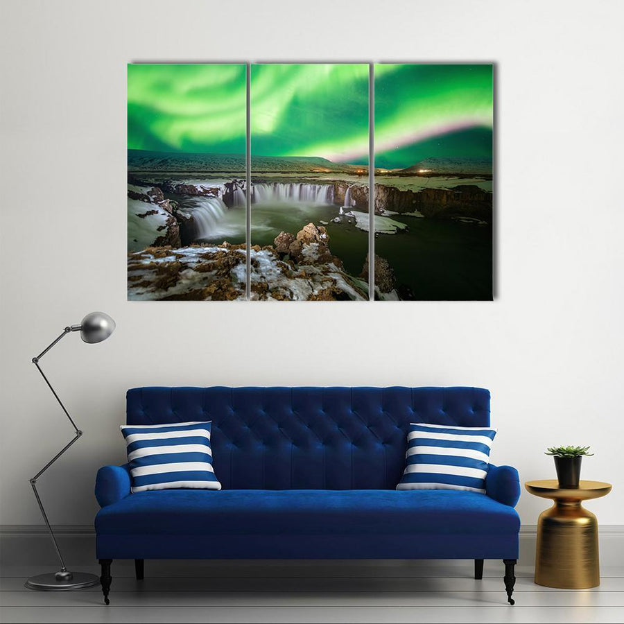 Northern Light Aurora At Godafoss Waterfall Multi Panel Canvas Wall Art 4 Pieces / Medium / Canvas Tiaracle