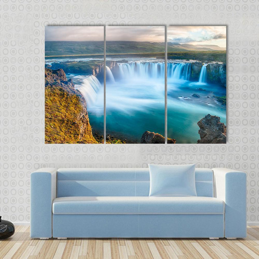 Beautiful Godafoss Icelandic Waterfall Multi Panel Canvas Wall Art 3 Pieces / Small / Gallery Wrap Tiaracle