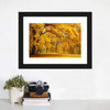Gold Trees In Park Canvas Wall Art-Tiaracle