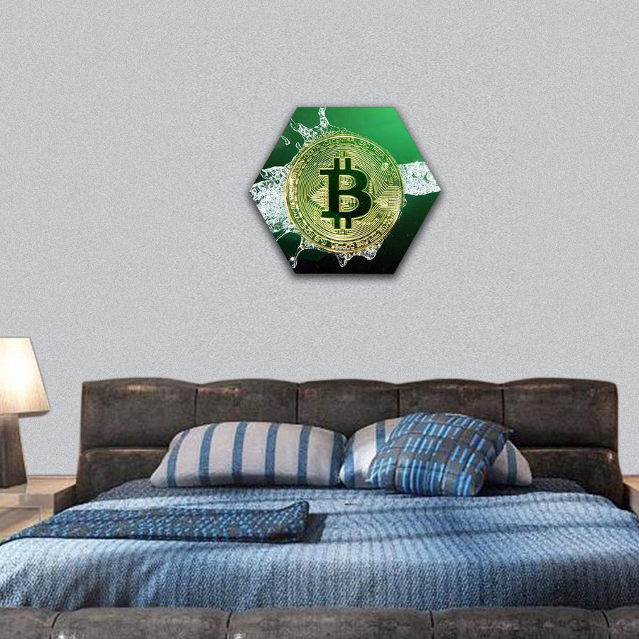 Golden Bitcoin And Water Splash Hexagonal Canvas Wall Art 7 Hexa / Small / Gallery Wrap Tiaracle