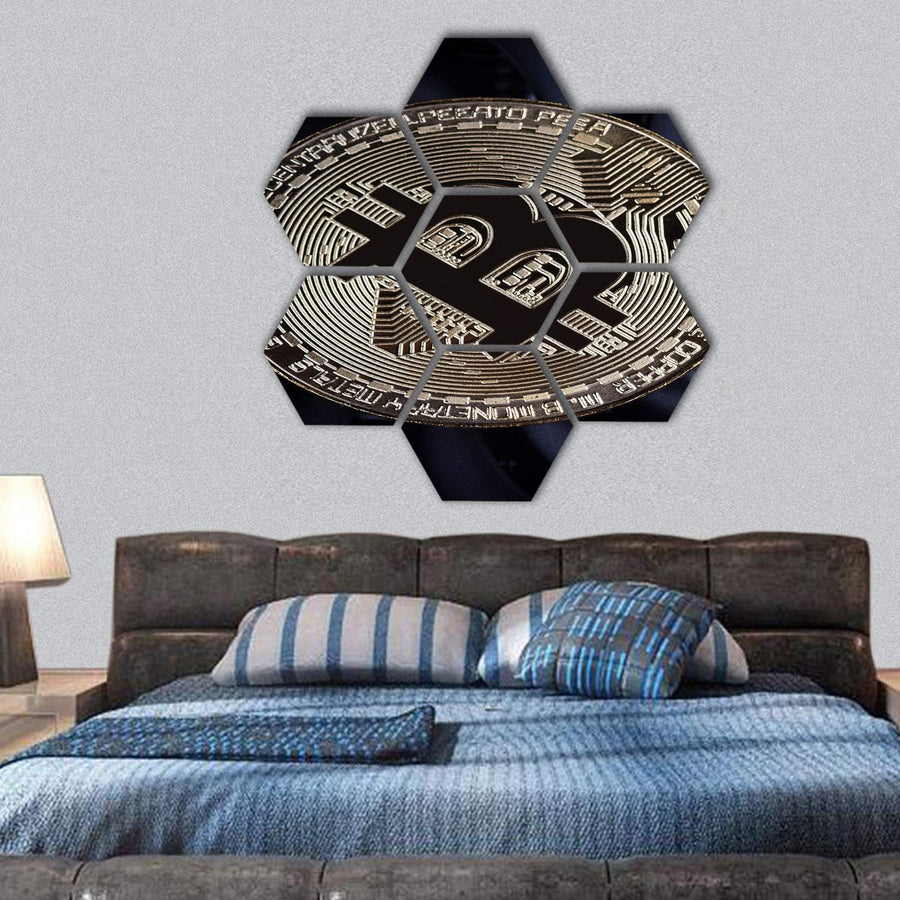 Golden Bitcoin Close-Up Hexagonal Canvas Wall Art 1 Hexa / Small / Gallery Wrap Tiaracle
