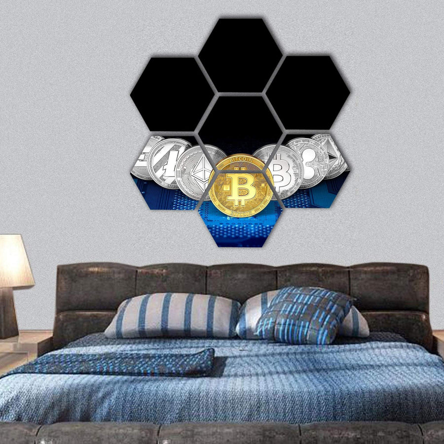 Golden Bitcoin Front View Hexagonal Canvas Wall Art 1 Hexa / Small / Gallery Wrap Tiaracle