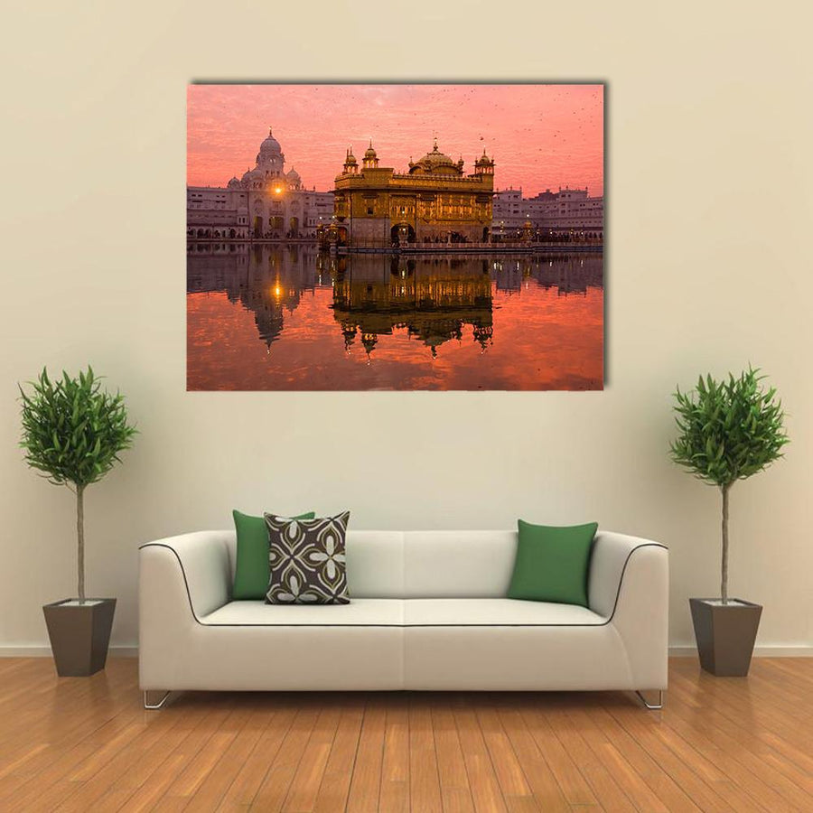 Golden Temple In Amritsar Multi Panel Canvas Wall Art 5 Horizontal / Small / Gallery Wrap Tiaracle