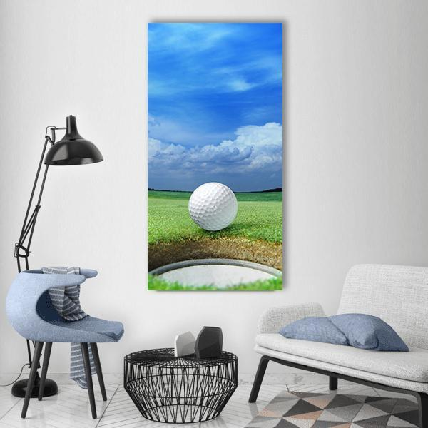 Golf Ball In Course Vertical Canvas Wall Art 3 Vertical / Small / Gallery Wrap Tiaracle