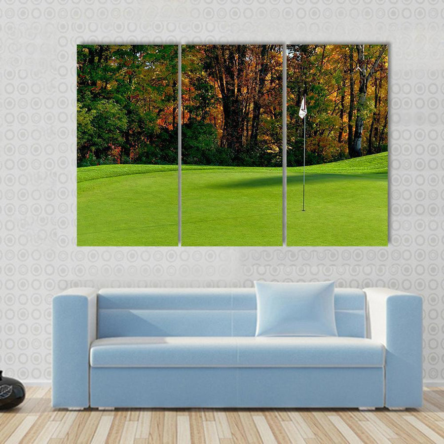 Golf Course With Flag In Autumn Colors Canvas Panel Painting Tiaracle