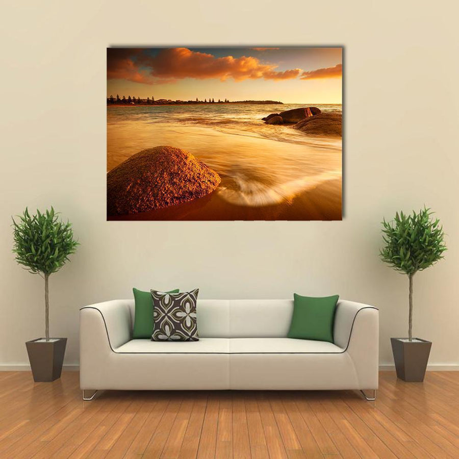 Gorgeous Sunrise On A South Australian Beach Multi Panel Canvas Wall Art 4 Horizontal / Small / Gallery Wrap Tiaracle