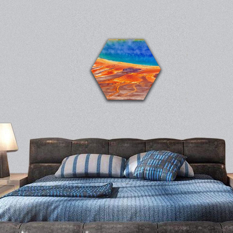 Grand Prismatic Spring Hexagonal Canvas Wall Art 7 Hexa / Small / Gallery Wrap Tiaracle