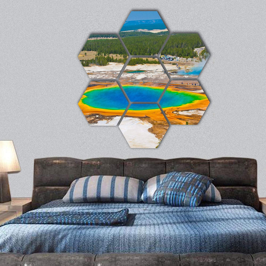 Grand Prismatic Spring In Yellowstone National Park Hexagonal Canvas Wall Art 1 Hexa / Small / Gallery Wrap Tiaracle