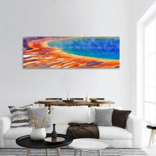 Grand Prismatic Spring Panoramic Canvas Wall Art 3 Piece / Small Tiaracle