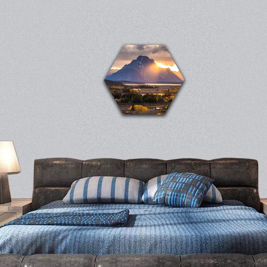 Grand Teton National Park In Wyoming Hexagonal Canvas Wall Art 7 Hexa / Small / Gallery Wrap Tiaracle