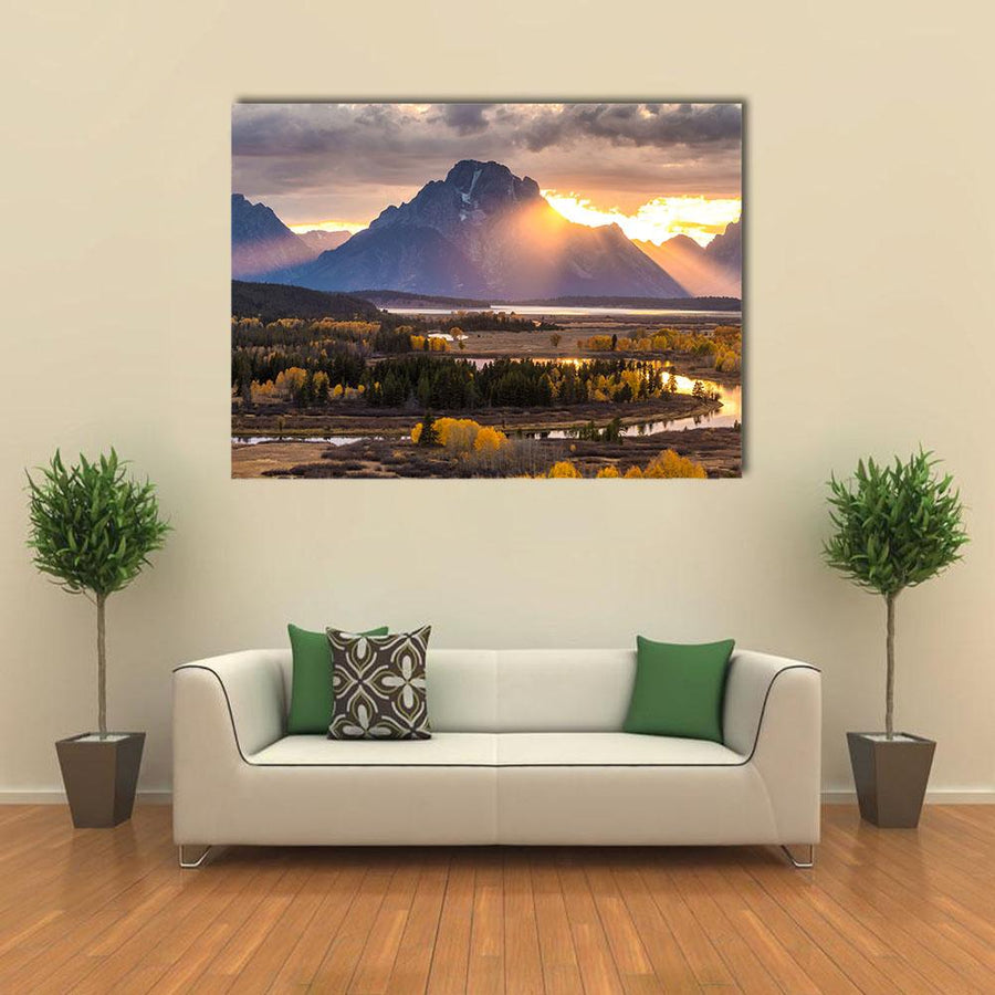 Grand Teton National Park In Wyoming Multi Panel Canvas Wall Art 4 Square / Small / Gallery Wrap Tiaracle