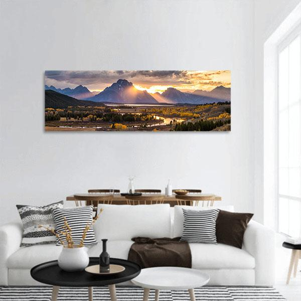 Grand Teton National Park In Wyoming Panoramic Canvas Wall Art 3 Piece / Small Tiaracle
