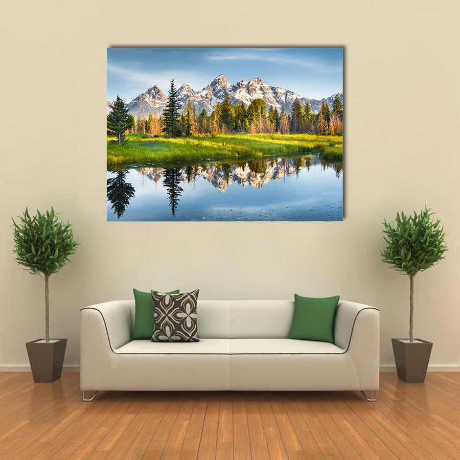 Grand Teton Range In US Rockies Multi Panel Canvas Wall Art 4 Horizontal / Small / Gallery Wrap Tiaracle