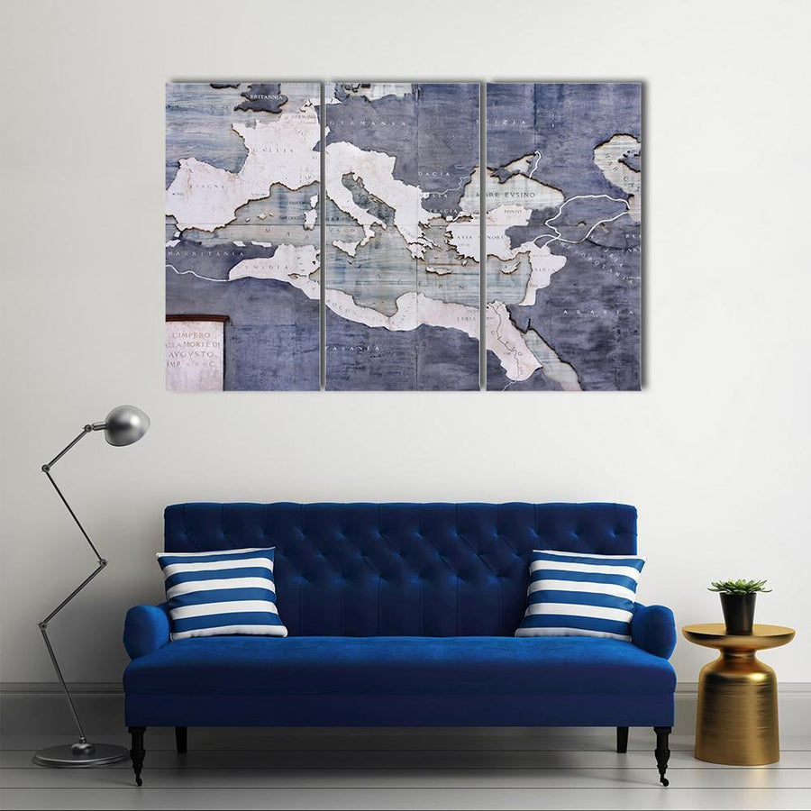 Great Roman Empire On A Old Card Multi Panel Canvas Wall Art 3 Pieces / Small / Gallery Wrap Tiaracle