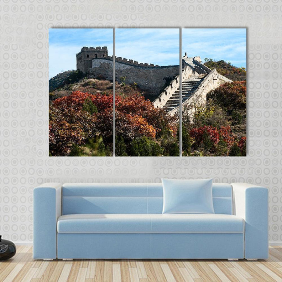 Great Wall In The Golden Autumn, China Multi Panel Canvas Wall Art 3 Pieces / Small / Gallery Wrap Tiaracle