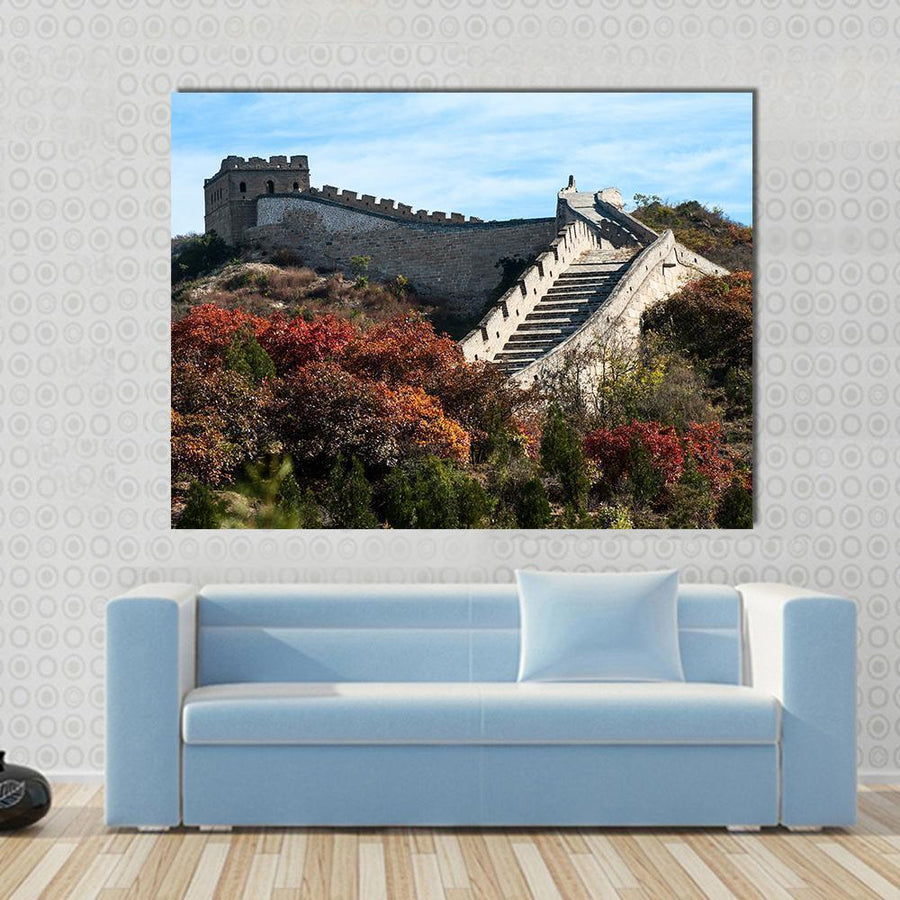 Great Wall In The Golden Autumn, China Multi Panel Canvas Wall Art 4 Horizontal / Small / Gallery Wrap Tiaracle
