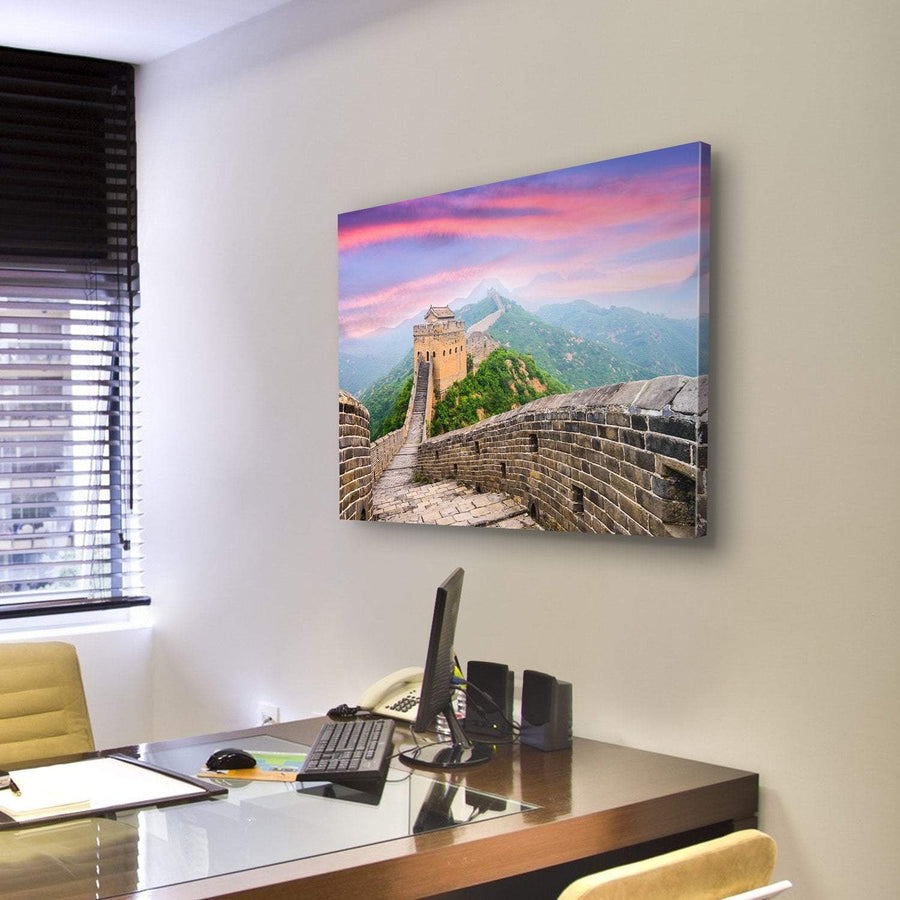 Great Wall Of China With Red Clouds Canvas Panel Painting Tiaracle