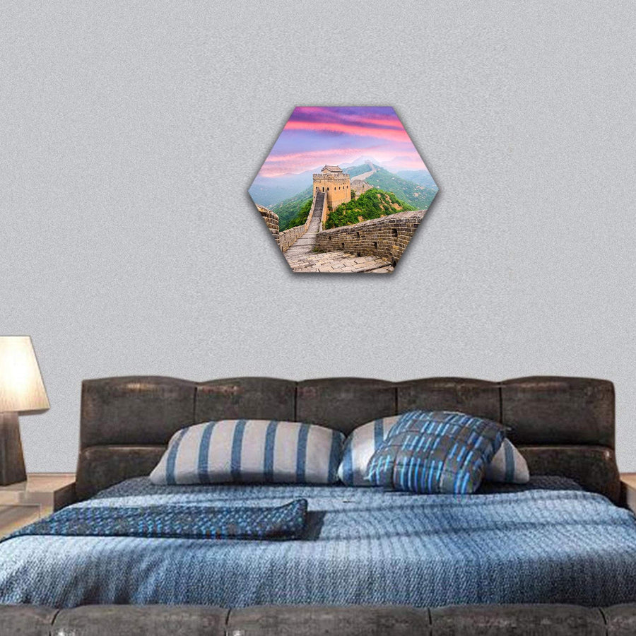 Great Wall Of China Under Colorful Clouds Hexagonal Canvas Wall Art 7 Hexa / Small / Gallery Wrap Tiaracle