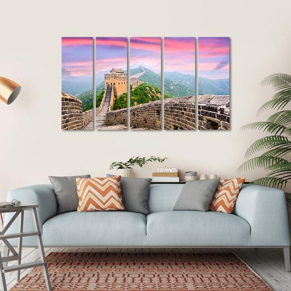 Great Wall Of China With Red Clouds Multi Panel Canvas Wall Art 1 Piece / Small / Gallery Wrap Tiaracle