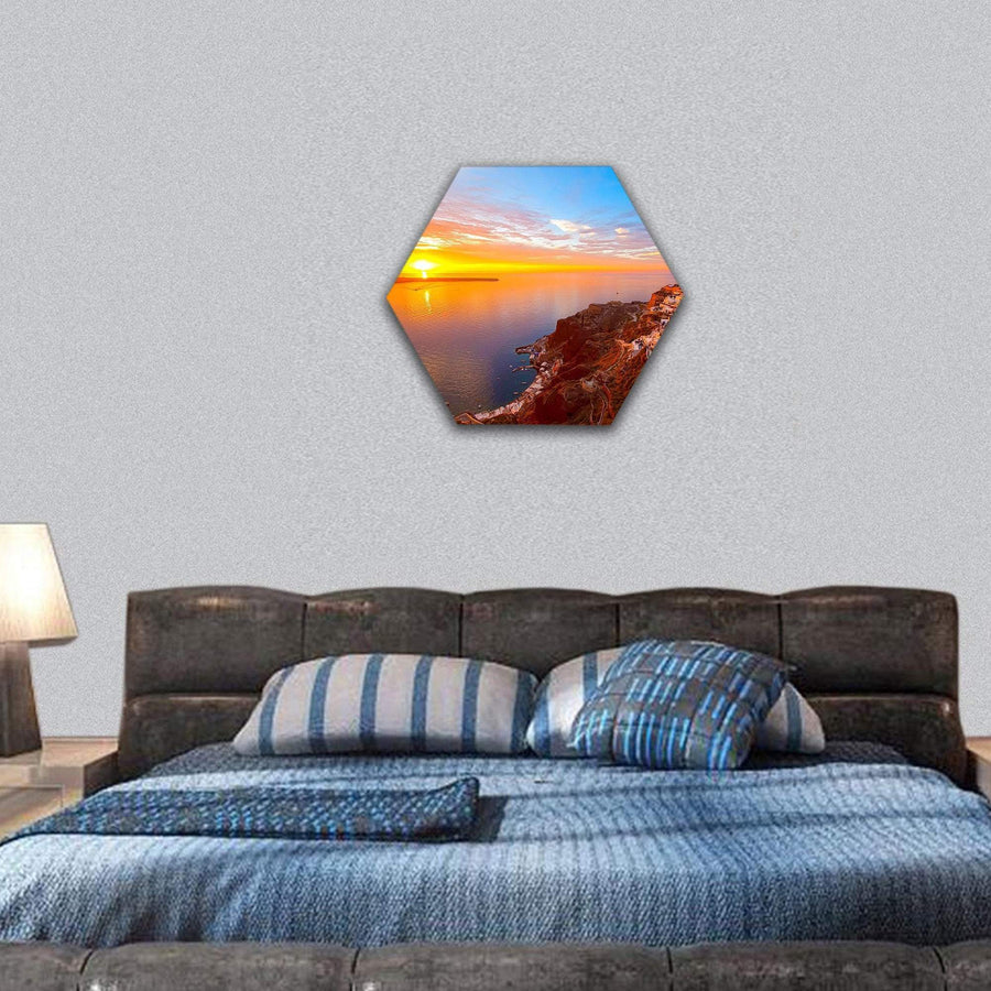 Greece With Romantic Sunsets On Santorini Island Hexagonal Canvas Wall Art Tiaracle