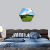 Green Field And Forest Hill With Blue Sky Hexagonal Canvas Wall Art 1 Hexa / Small / Gallery Wrap Tiaracle