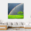 Green Field With Tree And Double Rainbow Multi Panel Canvas Wall Art 4 Square / Small / Gallery Wrap Tiaracle