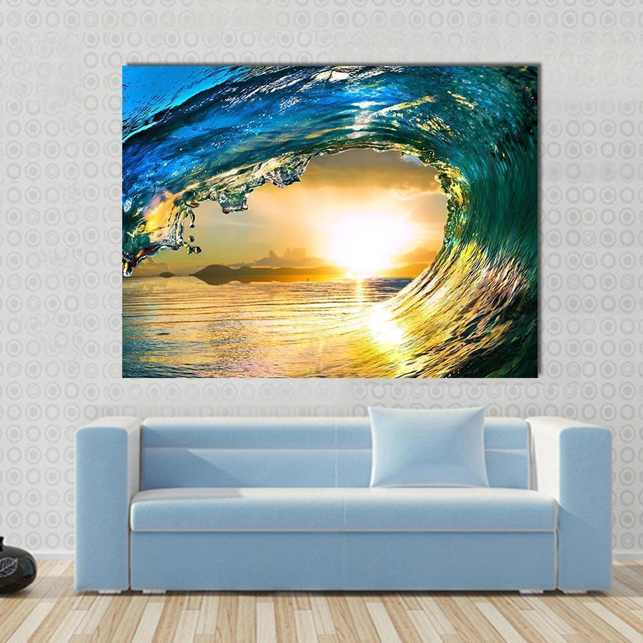 Blue Ocean Wave Canvas Panel Painting Tiaracle