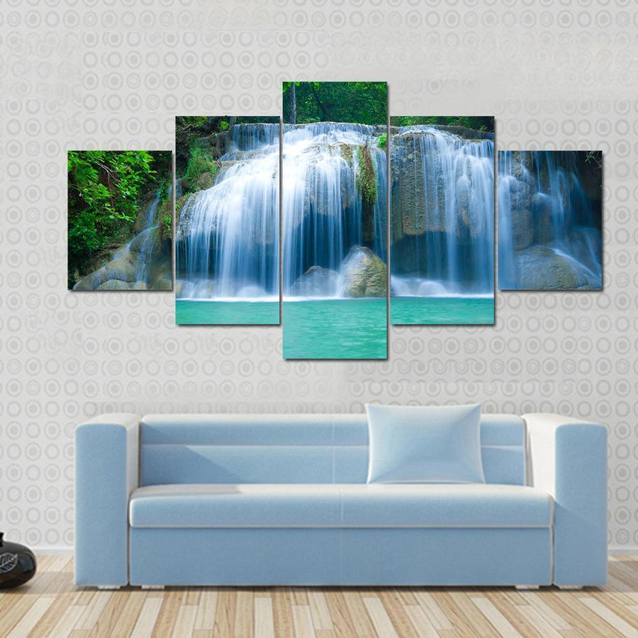 Beautiful Waterfall In The Green Forest Canvas Panel Painting Tiaracle