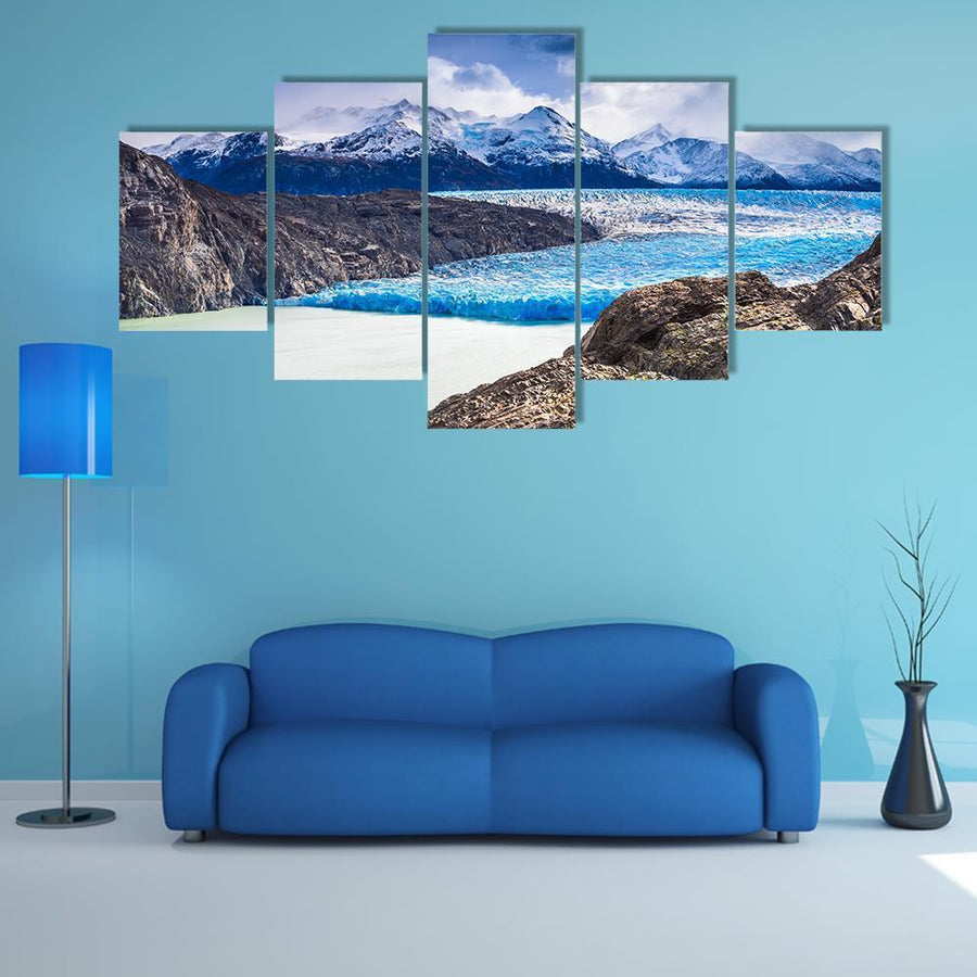 Grey Glacier In Southern Patagonian Multi Panel Canvas Wall Art 5 Pieces(A) / Medium / Canvas Tiaracle