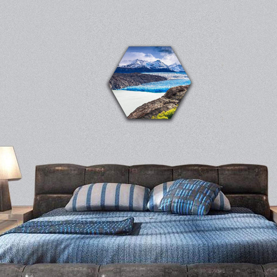 Grey Glacier In Southern Patagonian Hexagonal Canvas Wall Art 7 Hexa / Small / Gallery Wrap Tiaracle