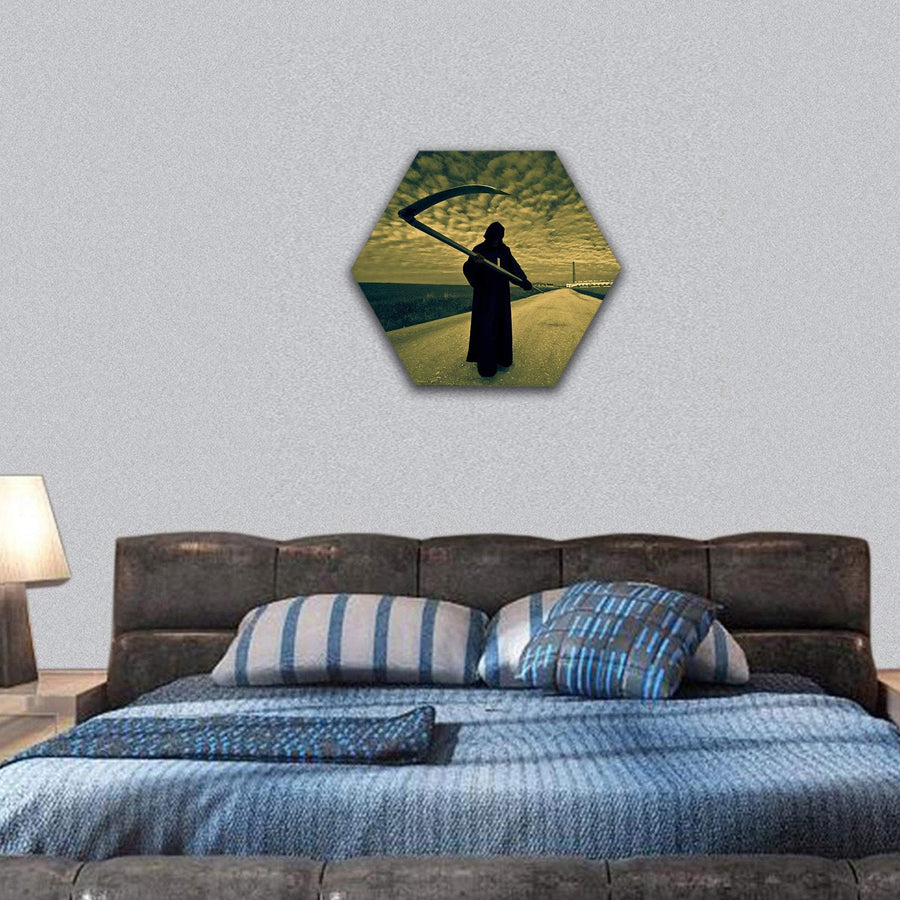 Grim Reaper On The Road Hexagonal Canvas Wall Art 7 Hexa / Small / Gallery Wrap Tiaracle