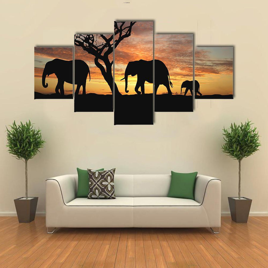 Group Of Elephant In Africa 4 Piece Canvas Panel Painting Tiaracle