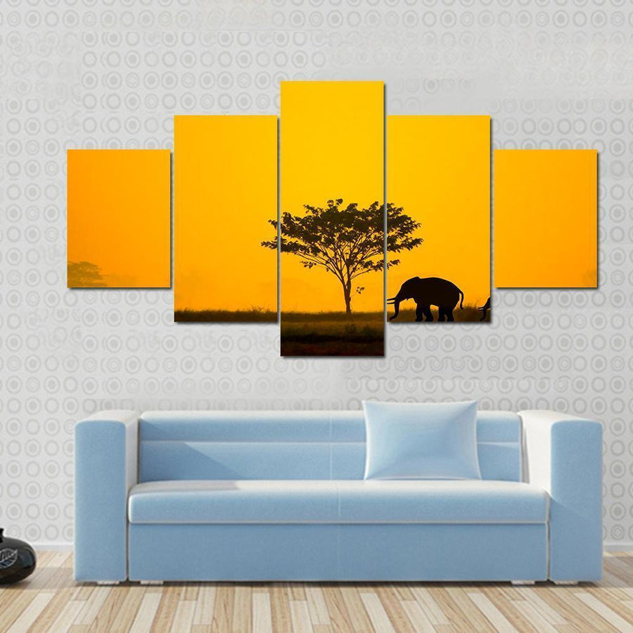 Group Of Elephant In Thailand Canvas Panel Painting Tiaracle