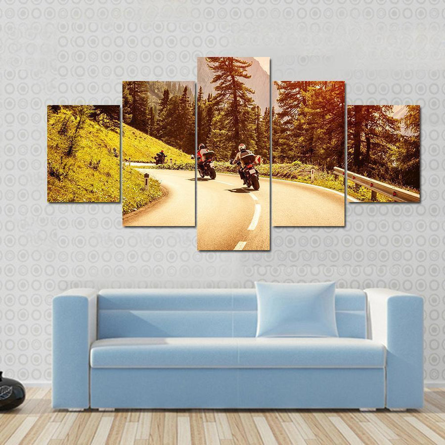Group Of Motorcyclists Riding On Curves Mountainous Road Canvas Panel Painting Tiaracle