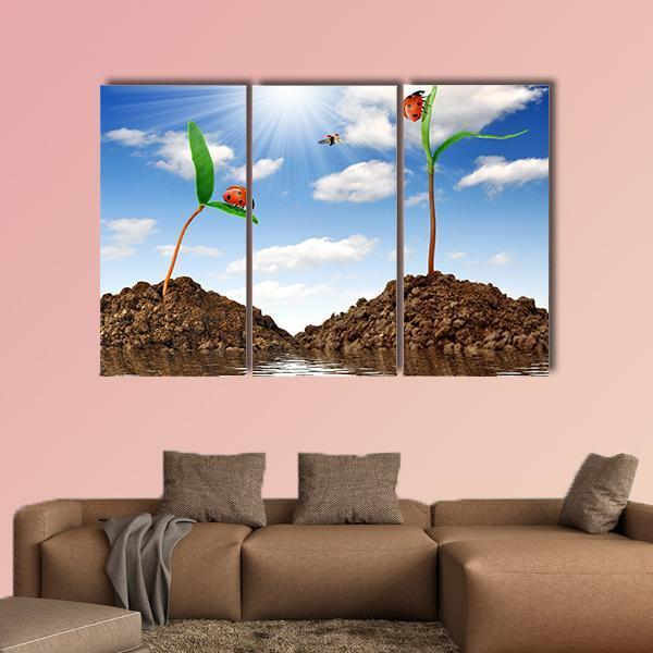 Growing Ggreen Plant With Ladybugs Multi Panel Canvas Wall Art 5 Pop / Medium / Gallery Wrap Tiaracle