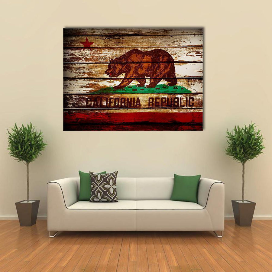 Grunge California Flag Multi Panel Canvas Wall Art 5 Horizontal / Small / Gallery Wrap Tiaracle