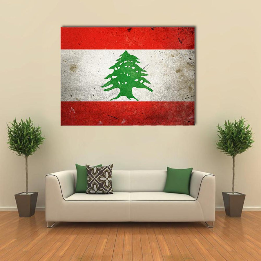 Flag Of Lebanon On Grunge Texture Multi Panel Canvas Wall Art 3 Pieces / Medium / Canvas Tiaracle