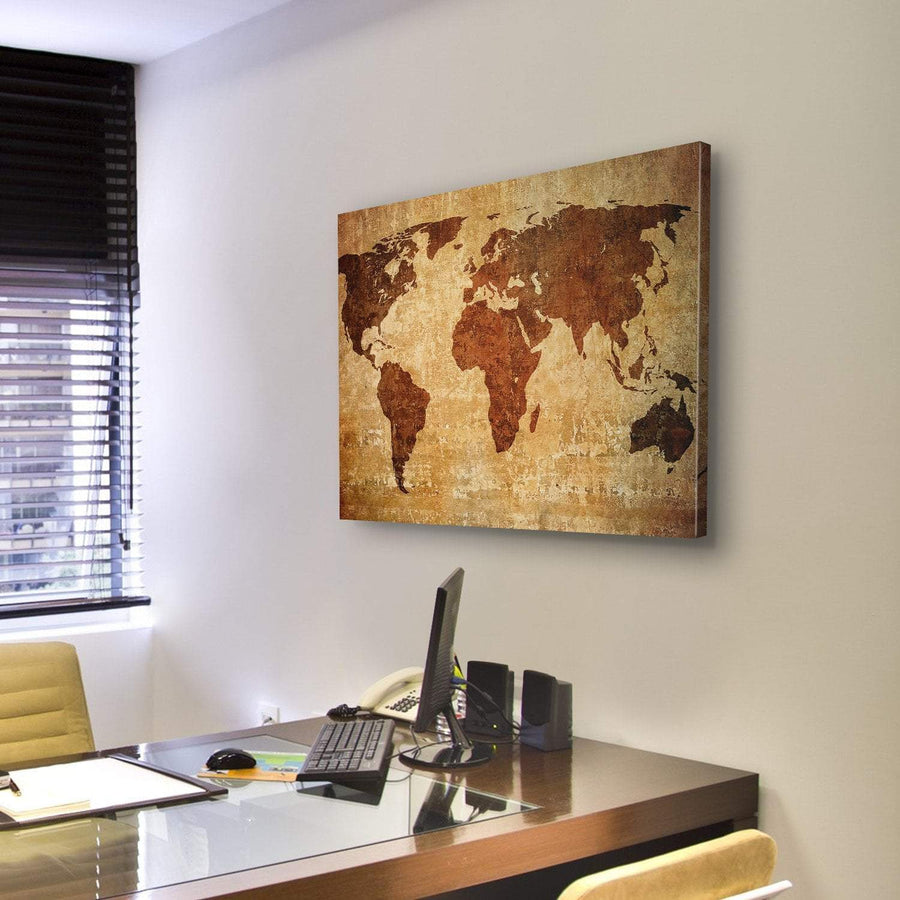 Grunge Map Of The World 4 Piece Canvas Panel Painting Tiaracle