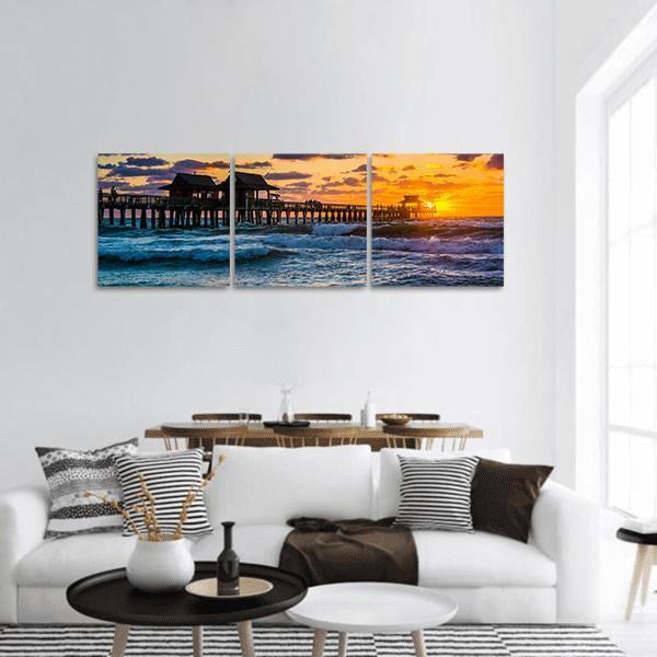 Gulf Of Mexico In Naples Florida Panoramic Canvas Wall Art Tiaracle